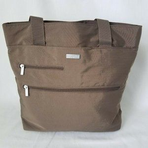 Baggallini Brown Bag Travel Tote with back slip fo